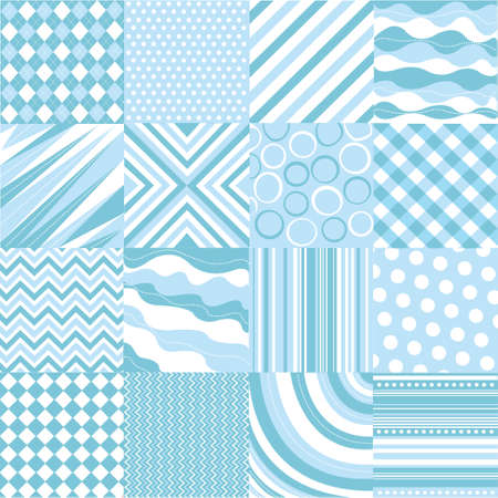 seamless blue patterns with fabric texture Vector