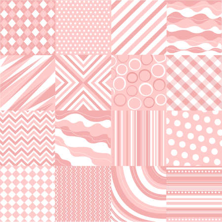 seamless pink patterns with fabric texture Vector
