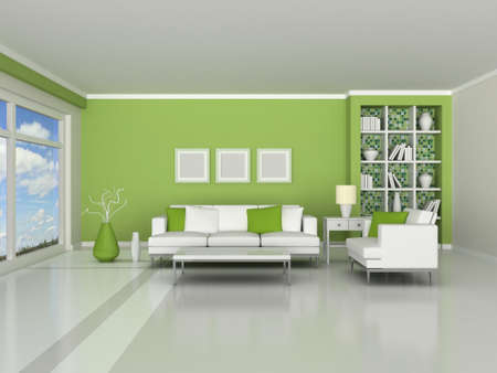 interior of the modern room, green wall and white sofas photo