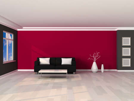 interior of the modern room, grey and pink wall and black sofa Stock Photo - 9204107