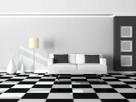 3d render interior of the modern room, grey wall and white sofa Stock Photo