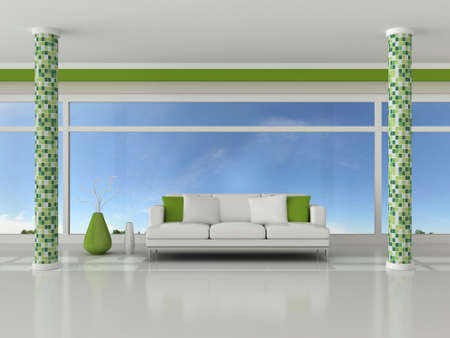 3d render interior of the modern room, green wall and white sofa Stock Photo - 9204105