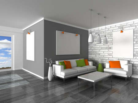 inter of the modern room, grey wall and white sofas Stock Photo - 9282030