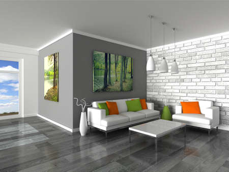 inter of the modern room, grey wall and white sofas Stock Photo - 9282033