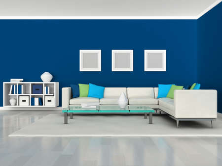Interior of the modern room, blue wall and white sofa photo