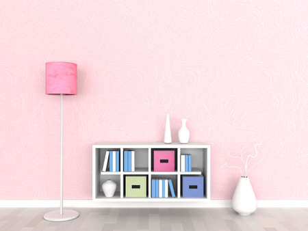 Interior of the modern room, pink wall  Stock Photo - 9400366