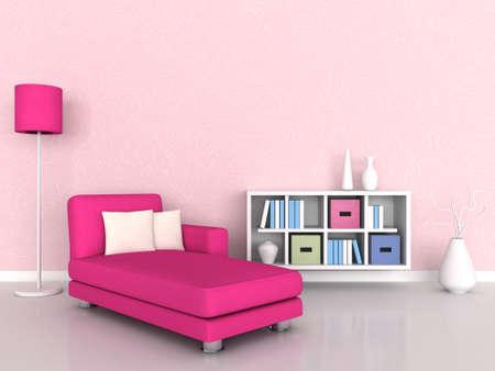 Interno del muro e rosa divano moderna sala, rosa