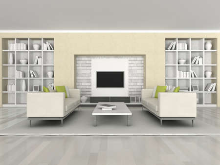 Interior of the modern room, brown wall and white sofa Stock Photo - 9400367