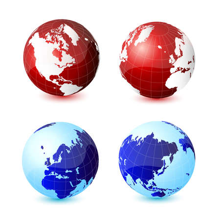 World global planet earth icons Stock Vector - 9489984