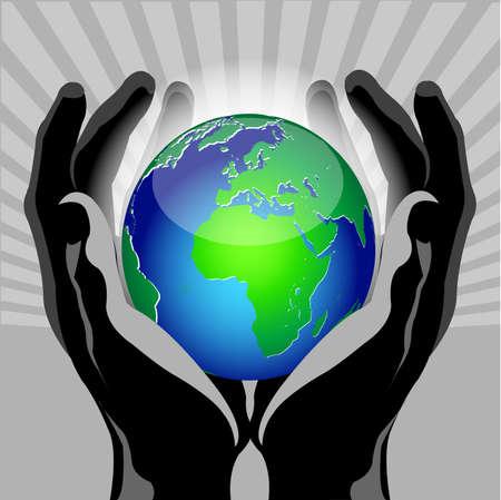 hands globe Vector