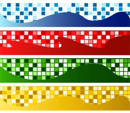 horizontal mosaic banners Stock Vector - 9469276