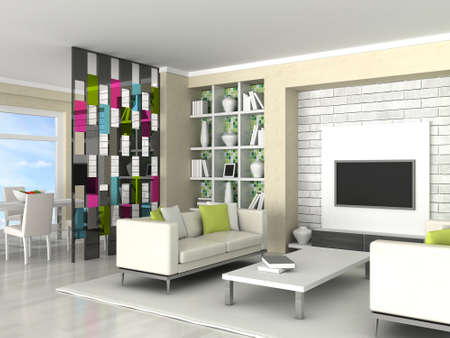 Interior of the modern room, living room Stock Photo - 9490027