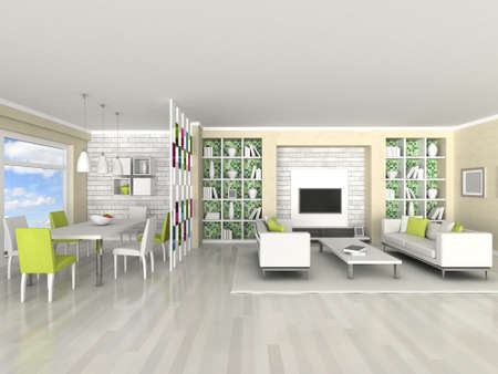 Interior of the modern room, living room, dining room Stock Photo - 9490016