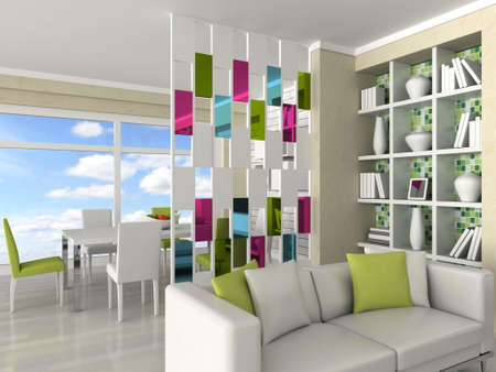 Interior of the modern room, living room, dining room photo