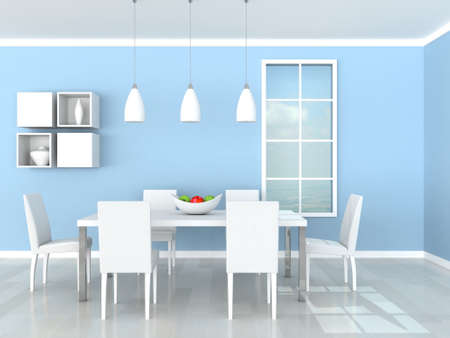 blue modern dining room photo