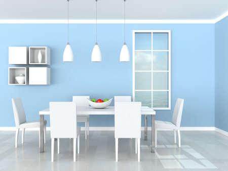 blue modern dining room Stock Photo - 9490017