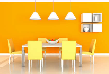 orange modern dining room photo