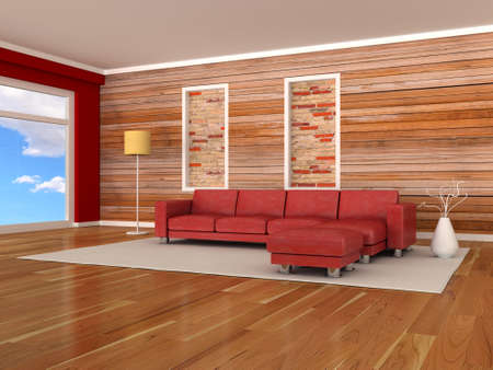 Interior of the modern room, wood wall, red sofa photo