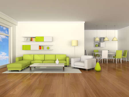 Interior of the modern room, dining room Stock Photo - 9617339