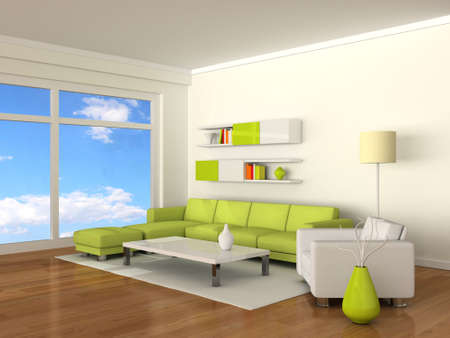 Interior of the modern room, white wall and green-white sofas photo