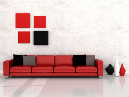 red pillows: Interior of the modern room, red sofa