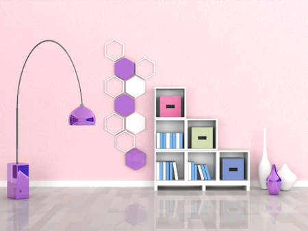 room wallpaper: interior of the modern room, pink wall Stock Photo