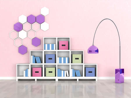 inter of the modern room, pink wall Stock Photo - 9731444