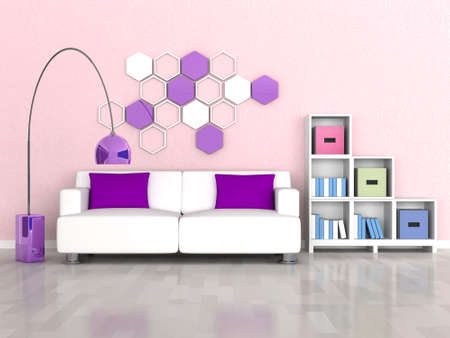 interior of the modern room, pink wall and white sofa photo