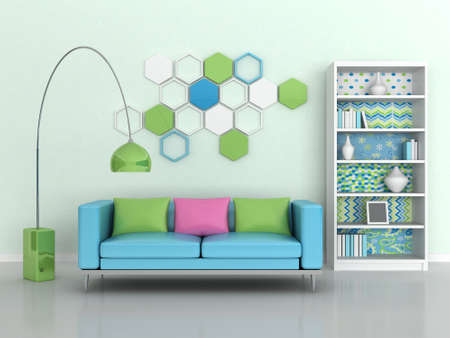 light green wall: interior of the modern room