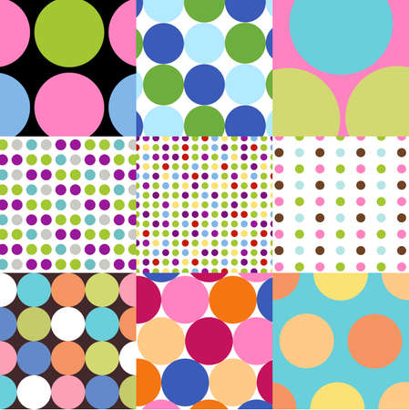 seamless patterns, polka dot set Vector