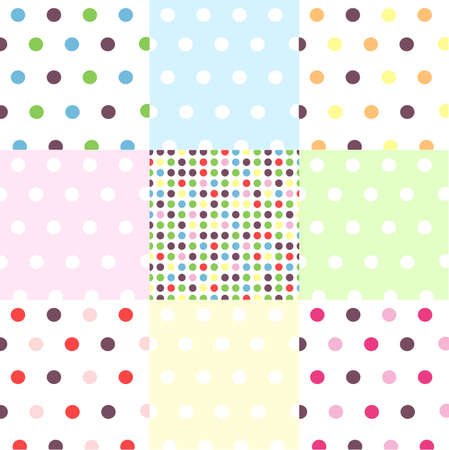 seamless patterns, polka dot set Stock Vector - 9870880