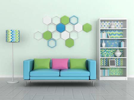 interior of the modern room, green wall, blue sofa