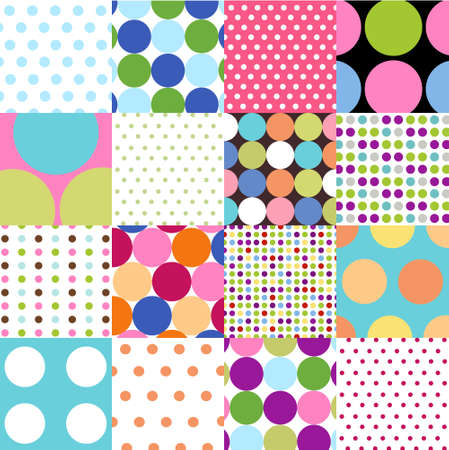 seamless patterns, polka dot set Stock Vector - 9871190