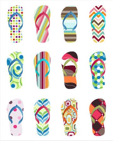 Set of colorful Flip flops Stock Vector - 10001475