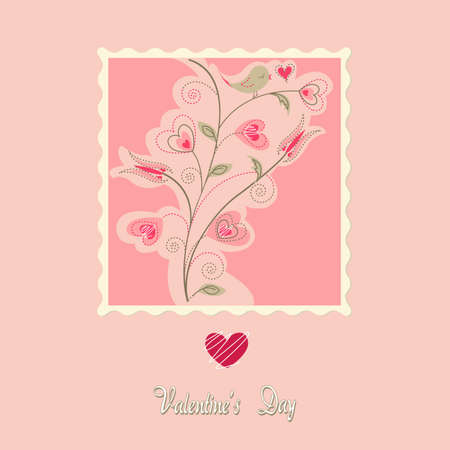 flowers card, valentines day Vector