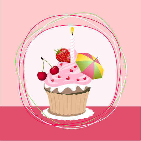 fruit cupcake Vector