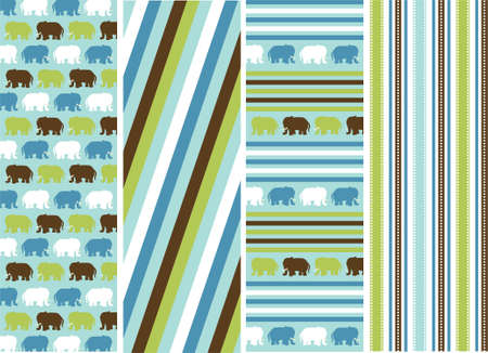 christmas plaid: seamless patterns with fabric texture, animal patterns Illustration