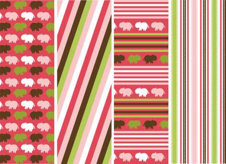 pink brown: seamless patterns with fabric texture, animal patterns Illustration