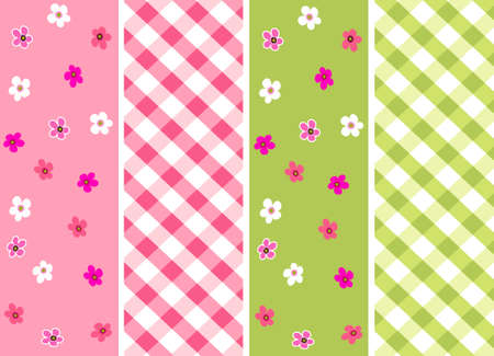 chequered backdrop: baby girl seamless patterns with fabric texture Illustration