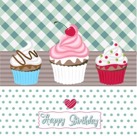 happy birthday cupcakes card Vector