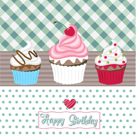 red polka dots: tarjeta de feliz cumplea�os cupcakes