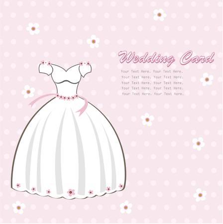 pink dress: Vintage wedding card