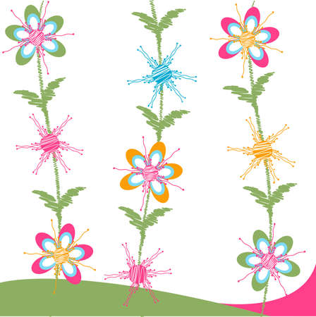 floral card, fabric texture Vector