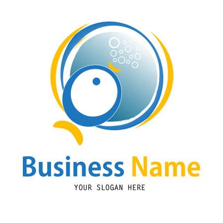 brush modern: Business fish logo design Illustration