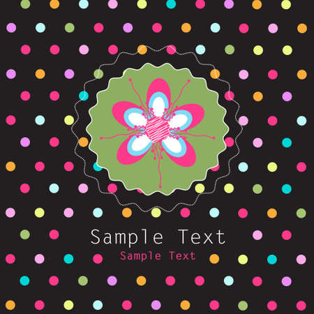 polka dots: floral card Illustration