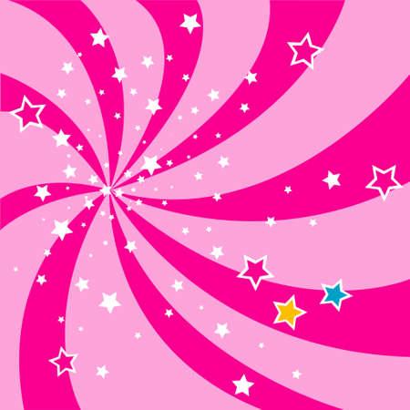 twirls: pink stars background Illustration