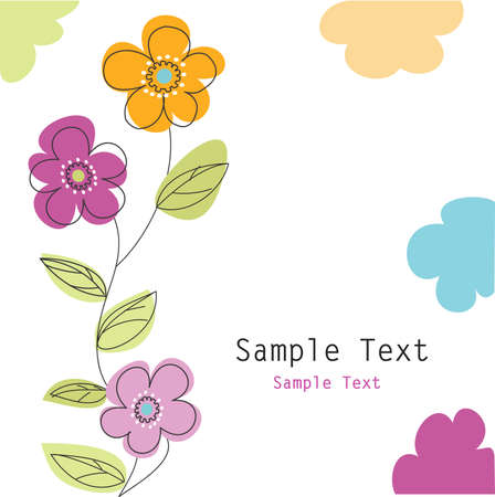 flower line: floral greeting card