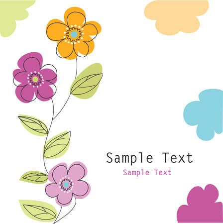 blumen cartoon: floralen Gru�karte Illustration