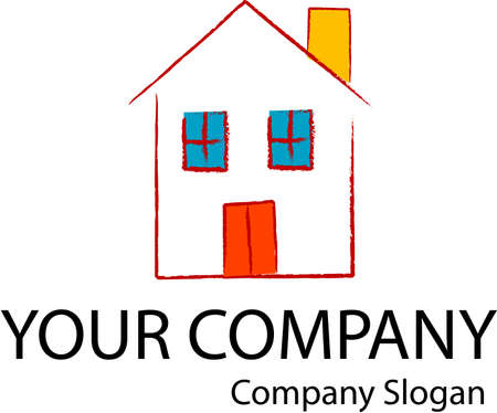 real people: Company logo with a home icon Illustration
