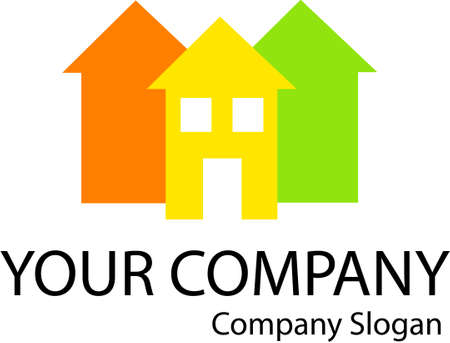 Company logo with a home icon Vectores